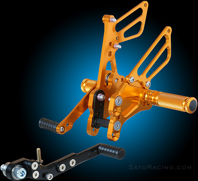 Sato Racing Rear Sets in Gold for '11+ Suzuki GSX-R600/750