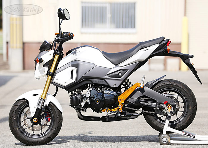 2017 Honda GROM with SATO RACING Rear Sets + Tandem Brackets, Frame Sliders and other parts