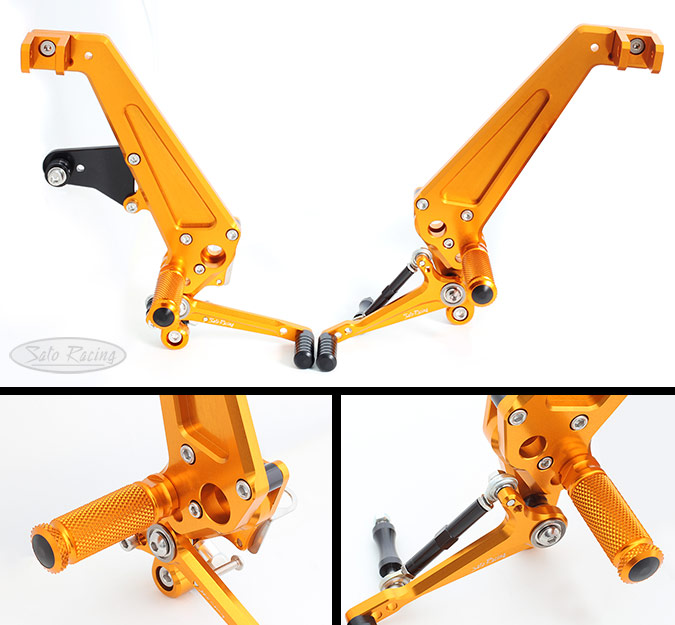 SATO RACING Honda Grom '16- Reverse Shift Rear Sets + Tandem Brackets in GOLD