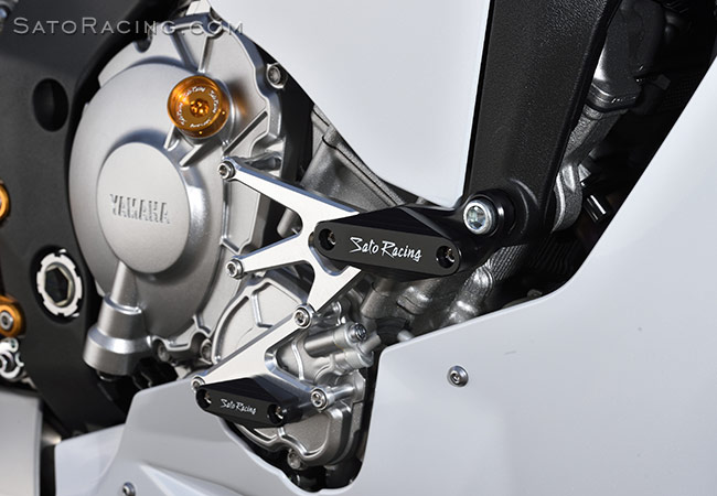 SATO RACING Flush mount Frame Sliders [R]-side for Yamaha R1 '15-'19, shown installed with our Engine Sliders