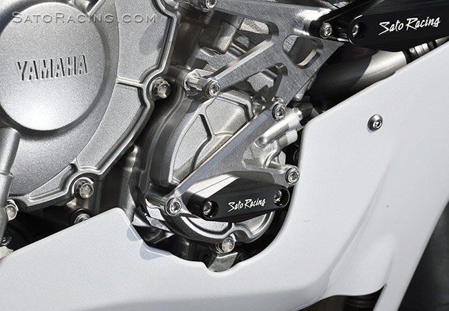 SATO RACING Flush mount Frame Sliders [L]-side for Yamaha R1 '15-'19, shown installed with our Engine Sliders